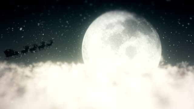 Santa Claus Flying Above The Clouds video