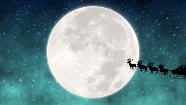 Santa Claus Flying In Front Of The Moon video