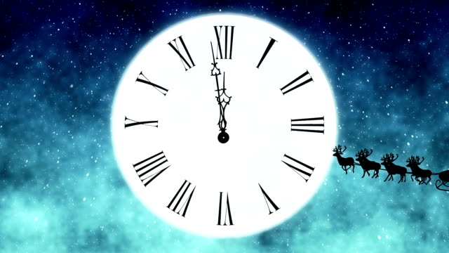 Santa Claus Flying In Front Of The Moon With Clock video