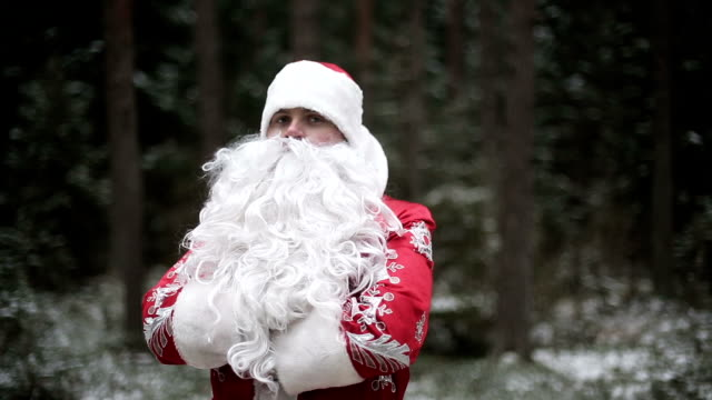 Santa Claus in forest smiling and laughing video