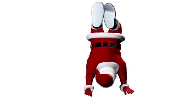 Santa Claus jumping upside down, against white video