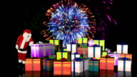 Santa Claus magically piling up gift boxes with holiday fireworks display video