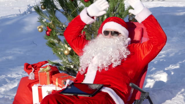 Santa Claus near Christmas tree in snow covered winter forestt video