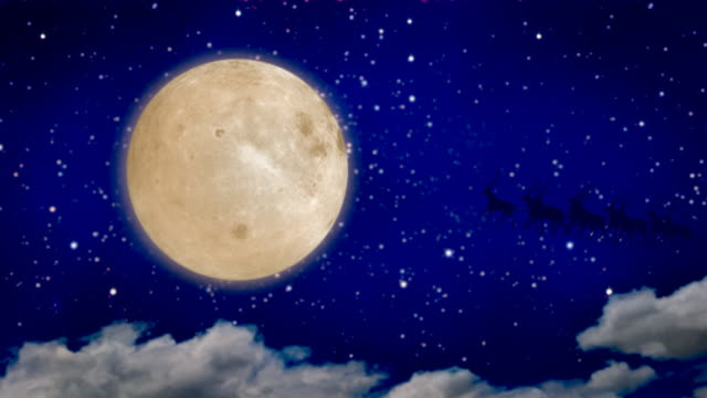 Santa Claus over full moon video