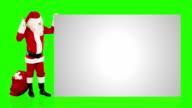 Santa Claus shaking bell presenting a white sheet, Green Screen video