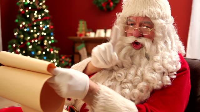 Santa Claus shaking finger at camera video