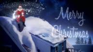 Santa claus sitting on a chimney video