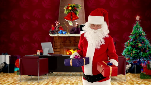 Santa Claus weighting presents, Alpha Channel video