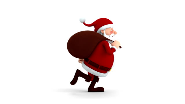Santa Claus with gift bag running video