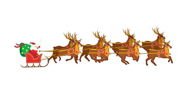 Santa Claus with reindeers in loop - alpha channel video