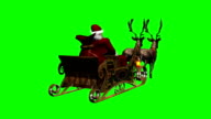 santa claus with sleigh and running reindeers 3 video