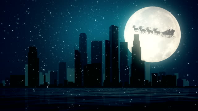 Santa Clause Flying Above The City video