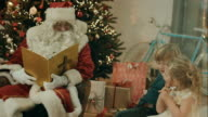 Santa Clause telling stories to kids video