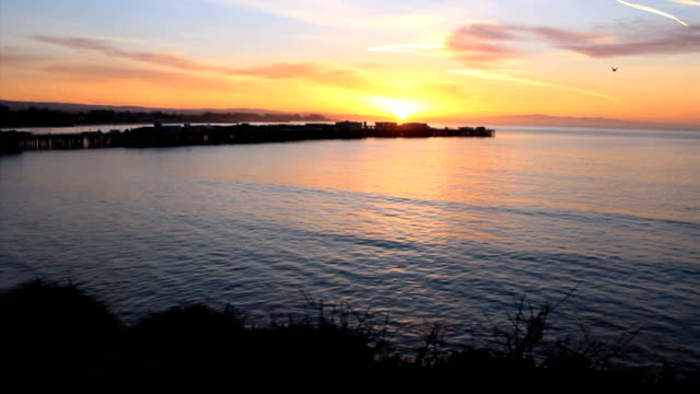 Santa Cruz Sunrise Over The Ocean And Wharf video