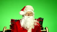 Santa / Father Christmas in Sleigh with Green screen behind video