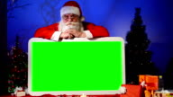 Santa holds empty green sign video