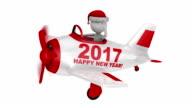Santa  in  plane  Happy New Year 2017 video