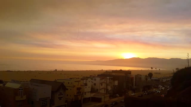 Santa Monica Beach and houses at sunset video