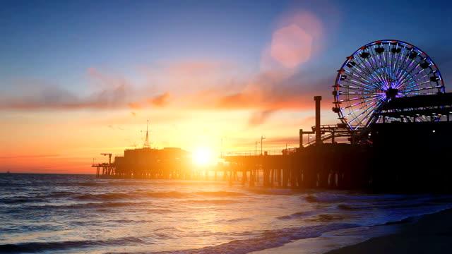 Santa Monica Pier during sunset video