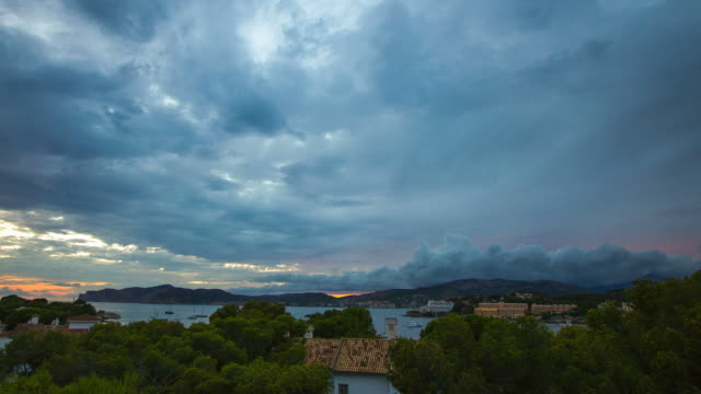 Santa Ponsa City yachts stormy weather Palma de Mallorca Majorca video