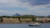 Santa Ponsa Mallorca Majorca Bay with luxury boat yacht hotel video
