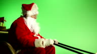 Santa sat in Sleigh with Green screen from side video