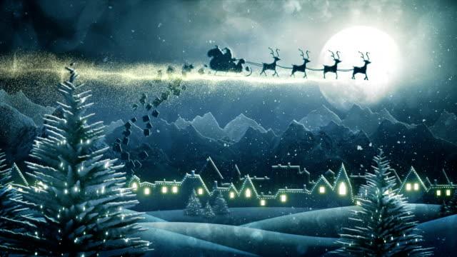 Santa sleigh delivering christmas presents (night) - Loop video