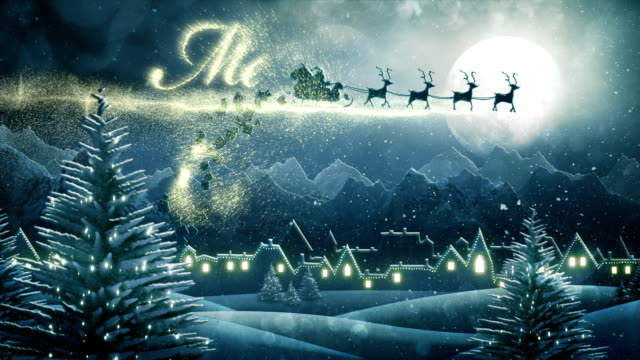 Santa sleigh delivering christmas presents (night,with text) - Loop video