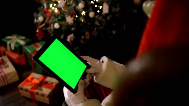 Santa with Ipad green screen video