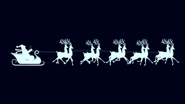 Santa with reindeer isolated video