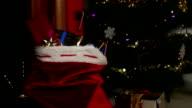 Santa's sack, full of presents - DOLLY video