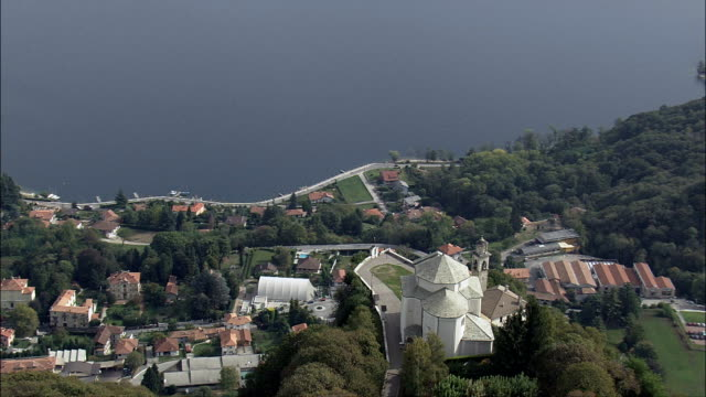 Santuario Madonna Del Sasso  - Aerial View - Piedmont, Provincia di Novara, Pella, Italy video