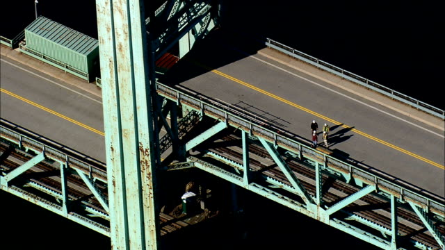 Sarah Mildred Long Bridge  - Aerial View - New Hampshire,  Rockingham County,  United States video