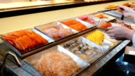 Sashimi buffet line, Japanese food video
