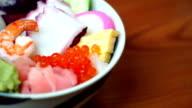 Sashimi rice bowl video