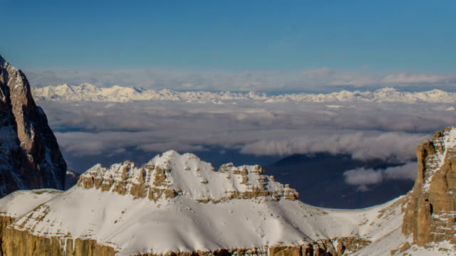Sasso Lungo north col in winter distant peaks and  clouds video