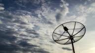 Satellite antenna against blue sky video