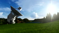 Satellite Antenna on Green Meadow, searching for signal, timelapse video