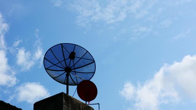 Satellite dish antennas under sky at office building video