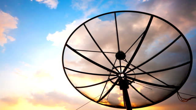 Satellite Dish Cloudscape Time-lapse for telecommunication background video