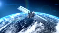 Satellite is orbiting the Earth video