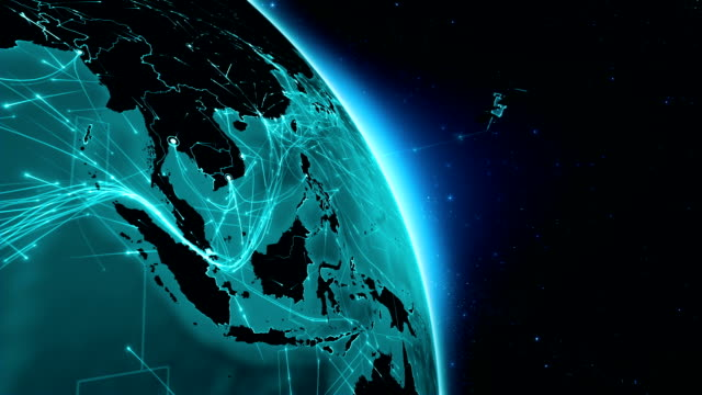 Satellite sending signals to Earth. Asia. World connections. video