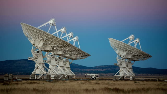 Satellites Rotating Slowly During Sunset video