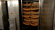 Sausage in a smoke chamber at the factory. The manufacture of sausage video