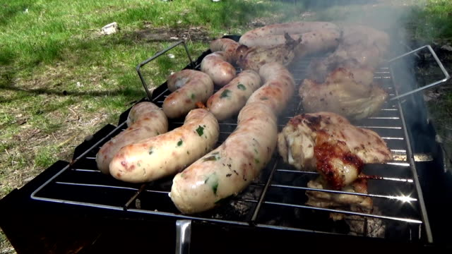 Sausages are produced in the smoke video
