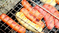 sausages on the grill video