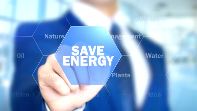 Save Energy, Man Working on Holographic Interface, Visual Screen video