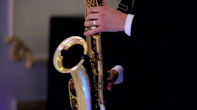 Saxophone player performs on stage. video