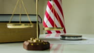 Scales of Justice - US Flag and Gavel video