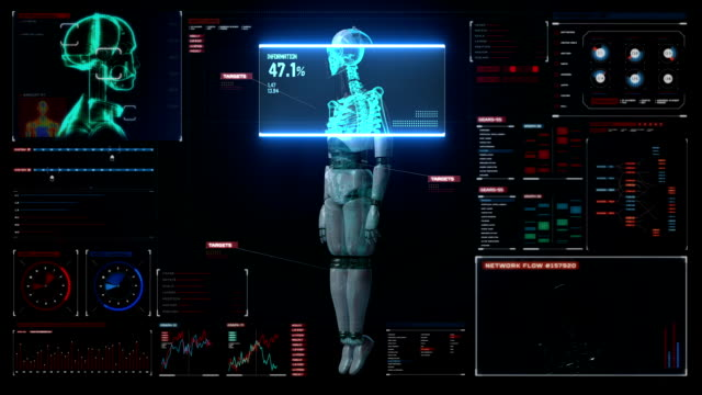 Scaning human skeletal structure inside Robot. digital medical display. video